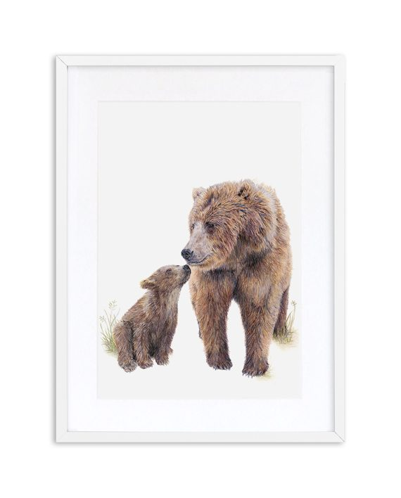 Bear Print White Frame State of Eden