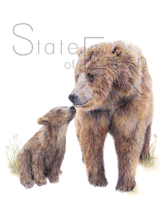 Bear and Cub wall print watermarked State of Eden