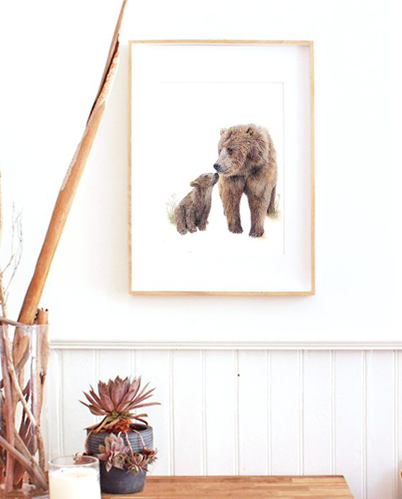 Bear and cub wall print artwork, SoE