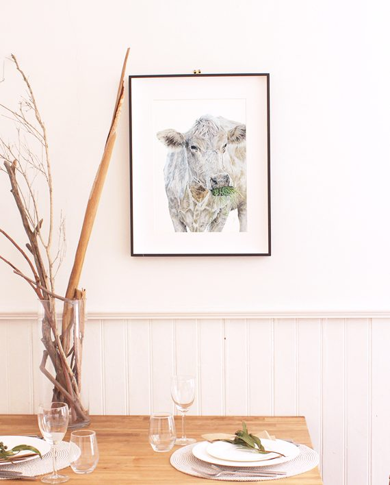 cow print artwork, living room print artwork, artwork for home