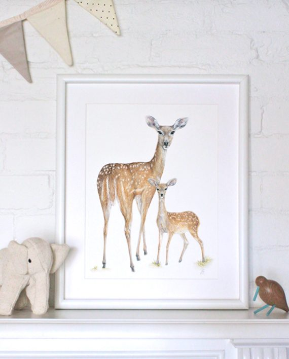 Deer print, Children's print artwork, Nursery print, SoE