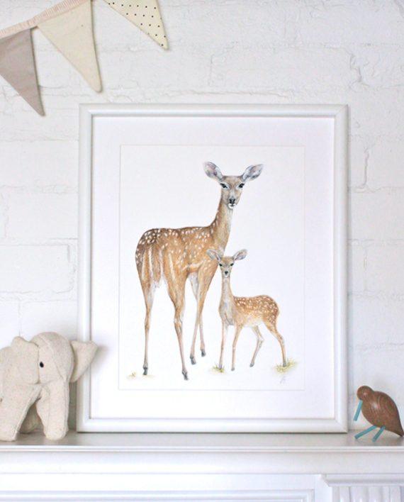 Deer print, Children's print artwork, Nursery print, SoE