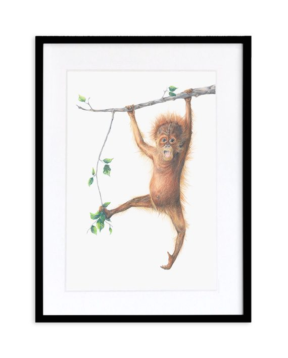 Orangutan Print Black Frame