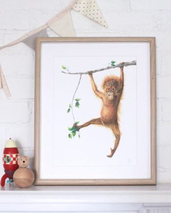 orangutan print, nursery print, children's bedroom print,
