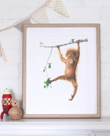 orangutan print, nursery print, children's bedroom print,