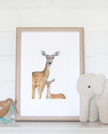 Deer mini print artwork, Nursery print, Children's bedroom print, SoE