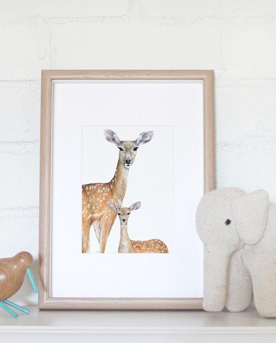 Deer mini print artwork, Nursery print, Children's bedroom print, SoE