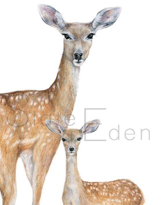 Deer mini print artwork, SoE