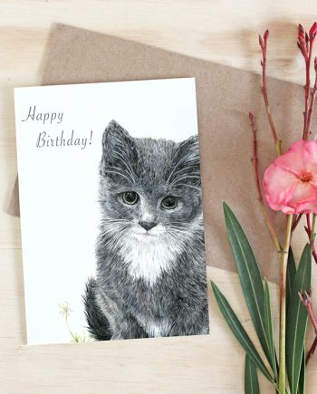 Kitten card, girl's birthday card, SoE