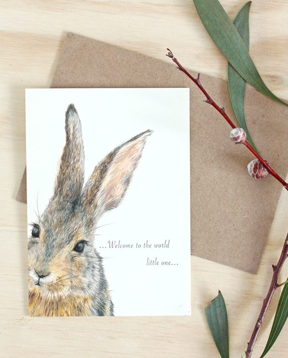 Rabbit Card, New Baby card, Baby Girl card, Baby Boy card