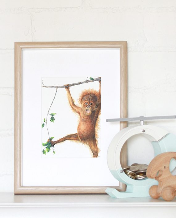 Orangutan mini print framed, Nursery mini print, children's mini print