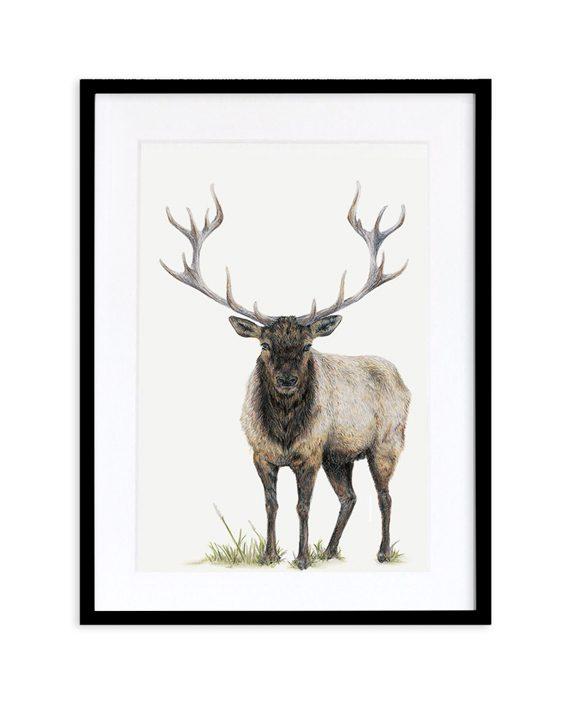 Elk Print Black Frame
