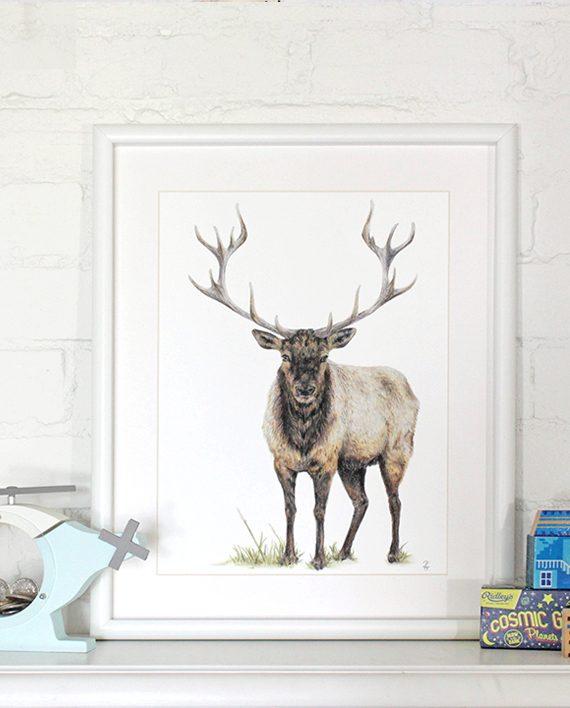 Elk print, children's bedroom decor, SoE