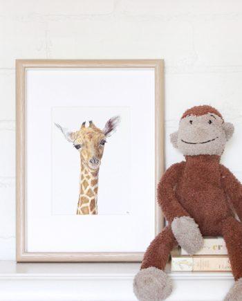 Giraffe mini print, children's wall art, nursery print
