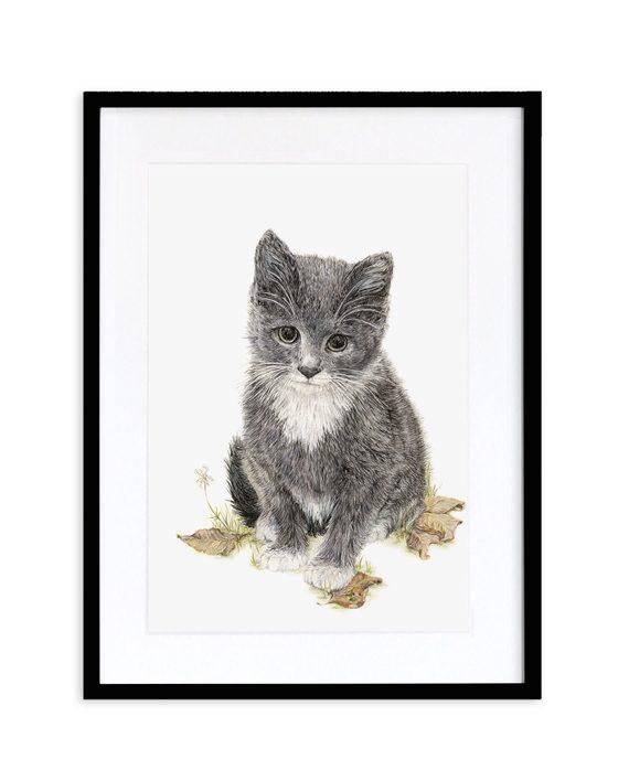 Kitten Print Black Frame