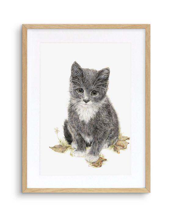 Kitten Print Oak Frame