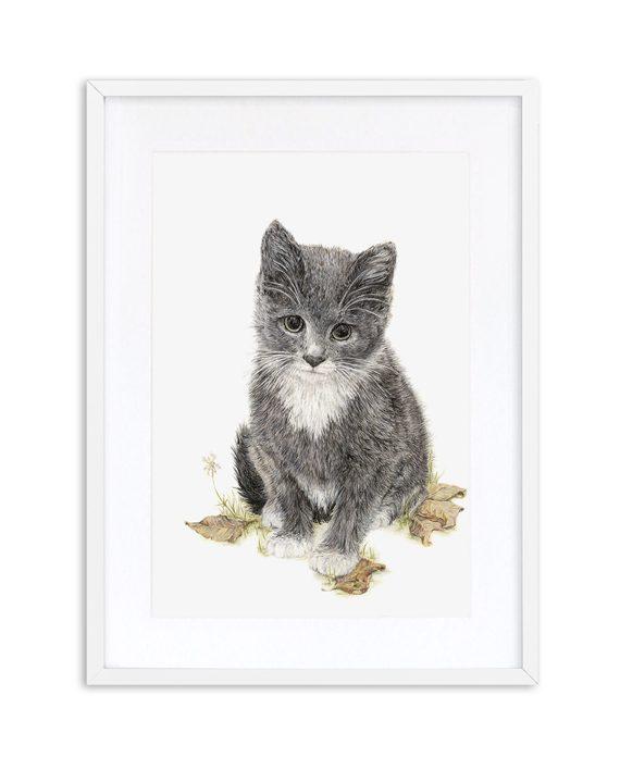 Kitten Print White Frame