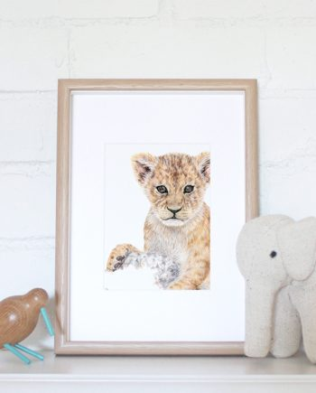 Lion Cub mini print nursery print, children's bedroom print, tiger, cheetah