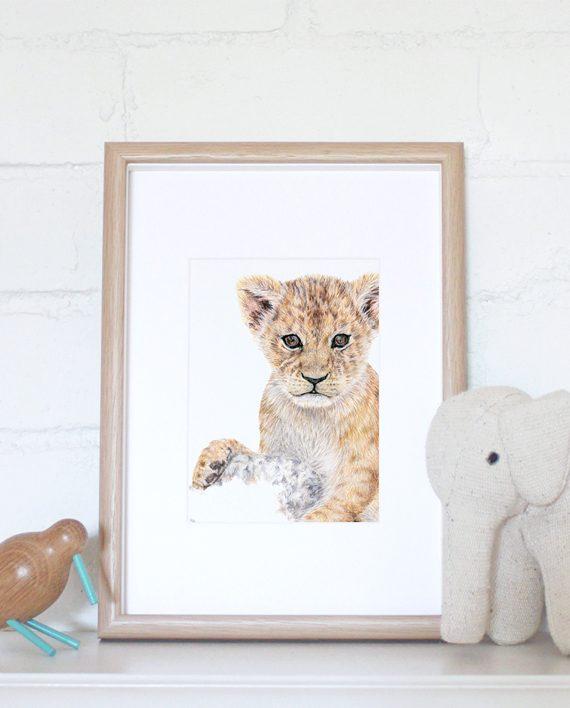 Lion Cub mini print nursery print, children's bedroom print, tiger, cheetah