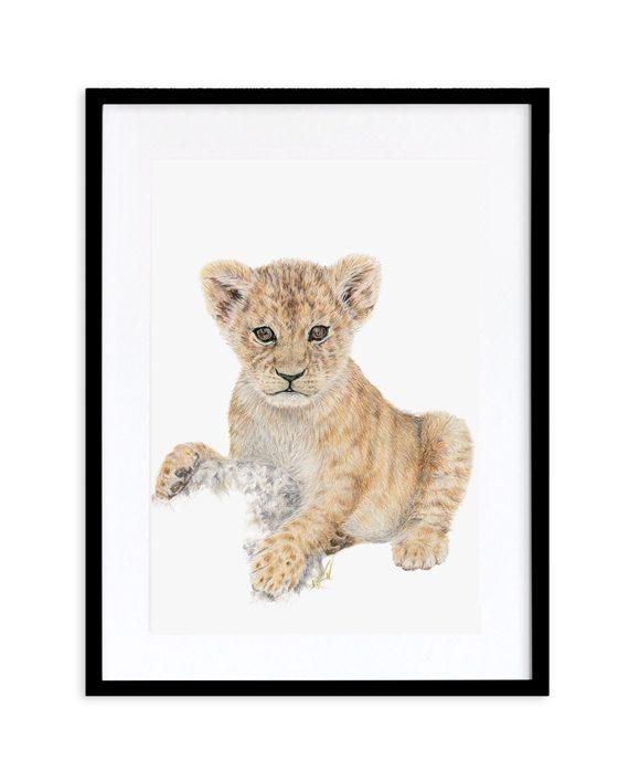 Lion Cub print black frame