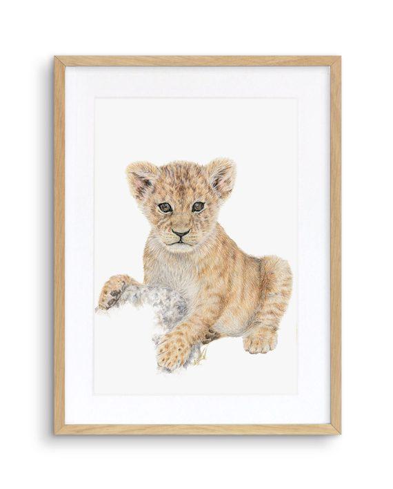 Lion Cub print oak frame