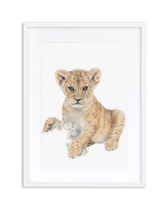 Lion Cub print white frame