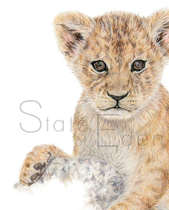 Lion cub mini print artwork, Nursery print, children's wall art