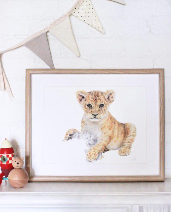Nursery lion cub print, Children's bedroom print, Tiger cub print,