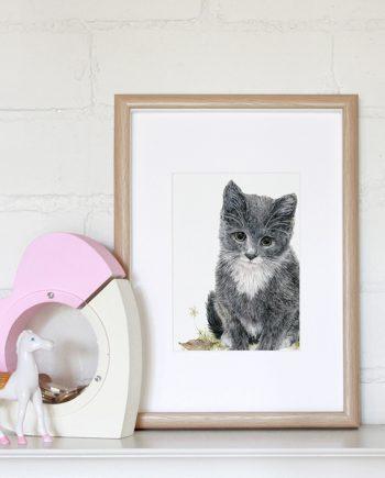 kitten mini print, children's print, nursery print, State of Eden