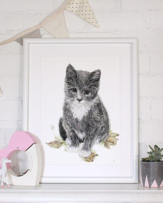 kitten print artwork, nursery print, children's bedroom print, little girl's room decor