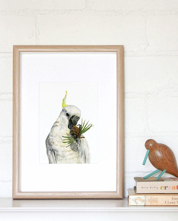 Cockatoo mini print, cockatoo print, SoE