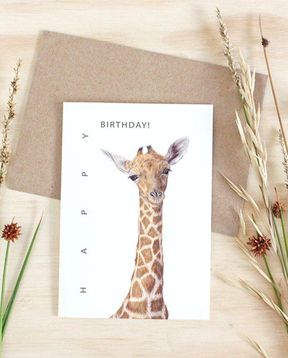 Giraffe Card, Happy Birthday,