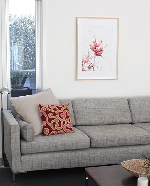 Grevillea print living room styling State of Eden