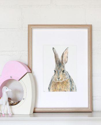 Rabbit Mini Print, Children's bedroom print, nursery print