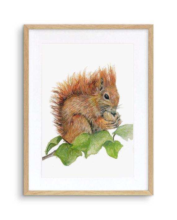 Squirrel Print Oak Frame