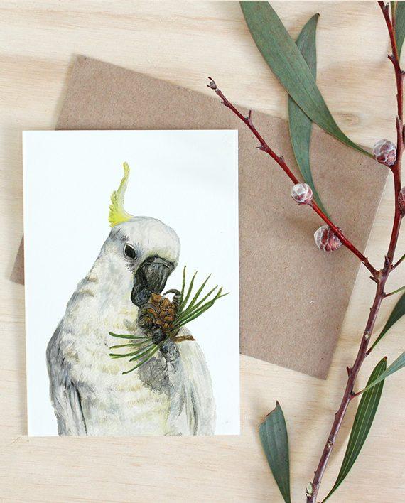 Cockatoo Card, Australian animal card, Australian card
