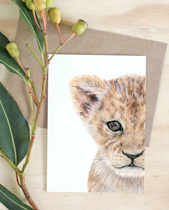 Lion Cub card, boy girl birthday card ,