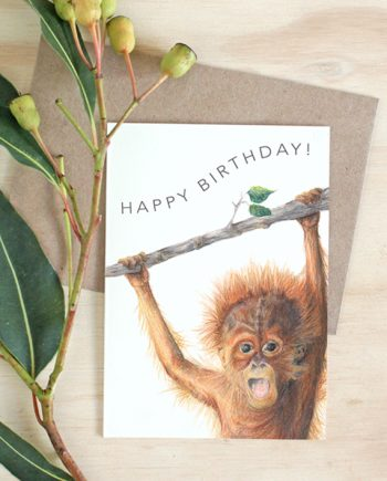Orangutan card, Child Happy Birthday card