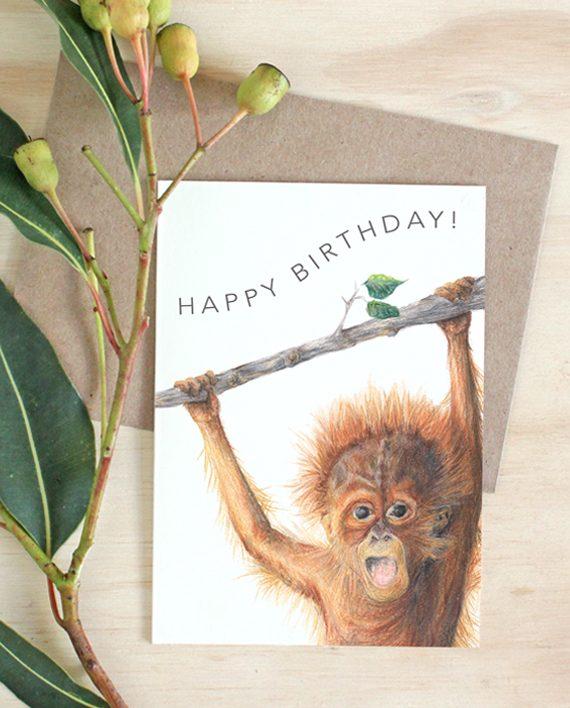 Orangutan card, Child Happy Birthday card