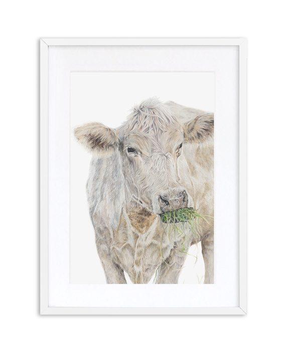 Cow Print White Frame