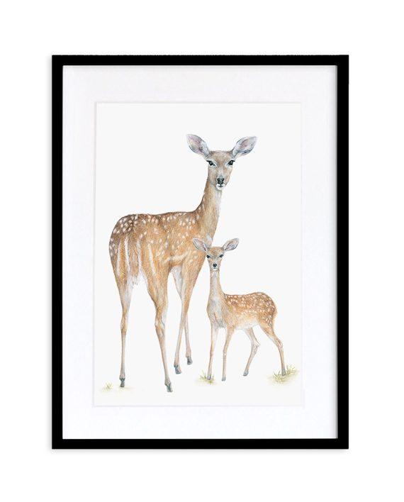 Deer Print Black Frame