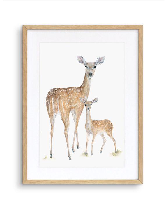 Deer Print Oak Frame