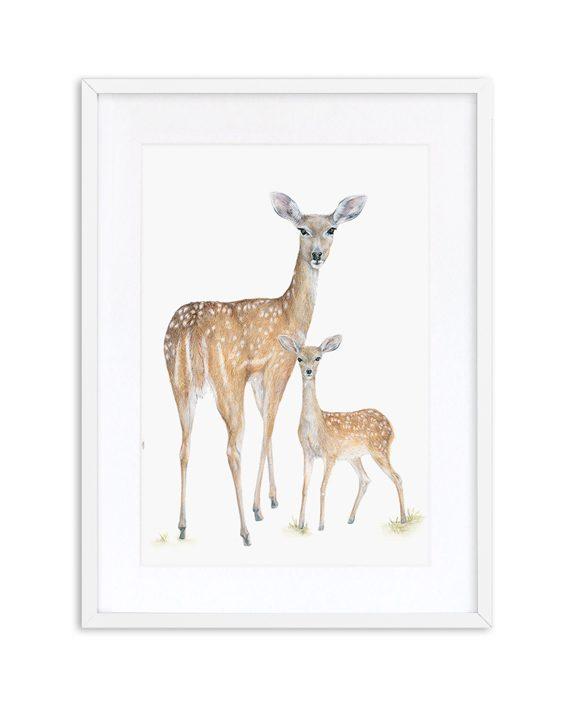 Deer Print White Frame