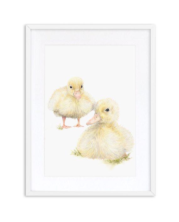 Duckling Print Oak Frame