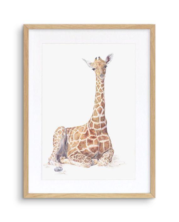 Giraffe Print Oak frame