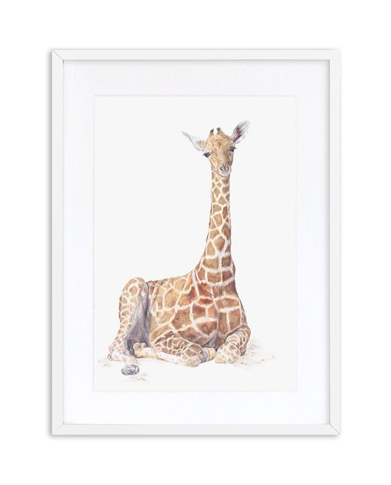Giraffe Print White frame
