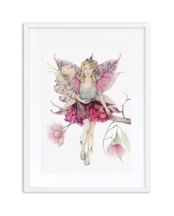Fairy Print Mythical White Frame State of Eden
