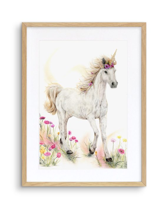 Unicorn Print Mythical Oak Frame State of Eden