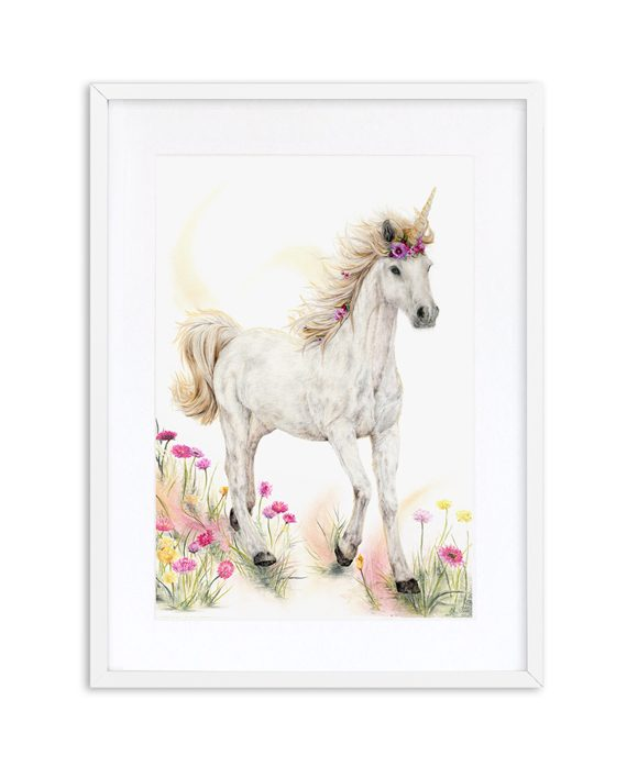 Unicorn Print Mythical White Frame State of Eden
