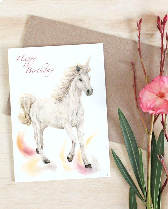 Unicorn Happy Birthday Card State of Eden 1